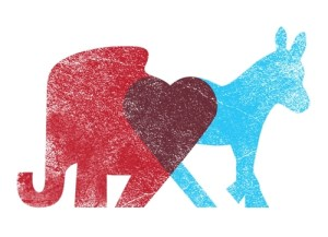 Bipartisan love: donkey and elephant