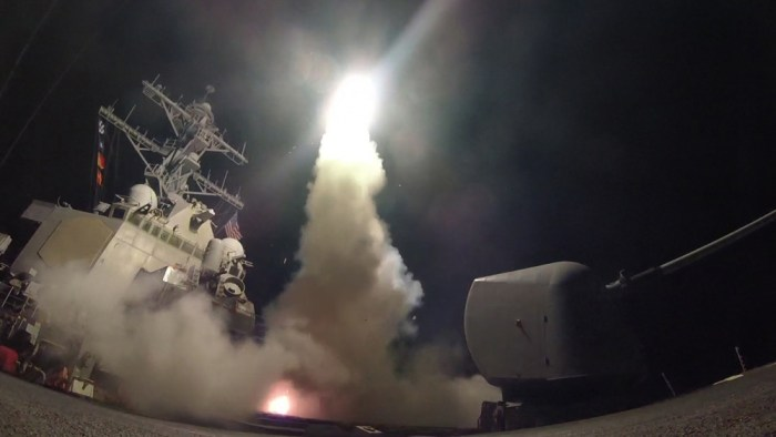 USS Porter launches Tomahawks