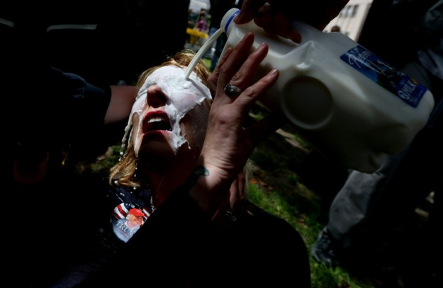 Milk poured on eyes of pepper-sprayed pro-Trump protester in Berkeley