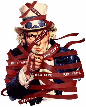 Red tape binding Uncle Sam