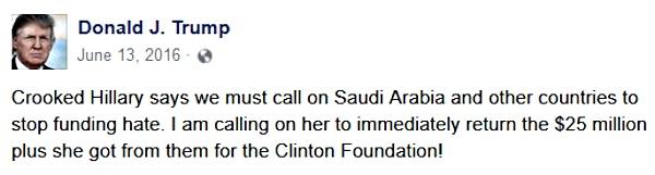 Trump's tweet about Saudi Arabia