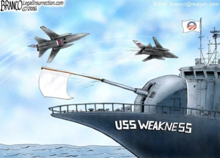 Cartoon about Obama's weakness before Rusia
