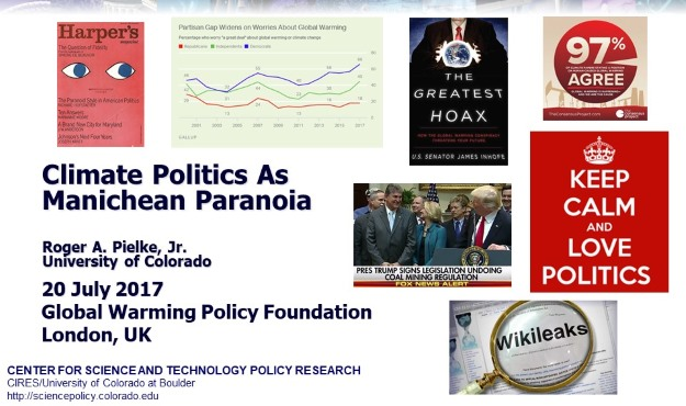Pielke Presentation at GWPF about Paranoid Climate Politics