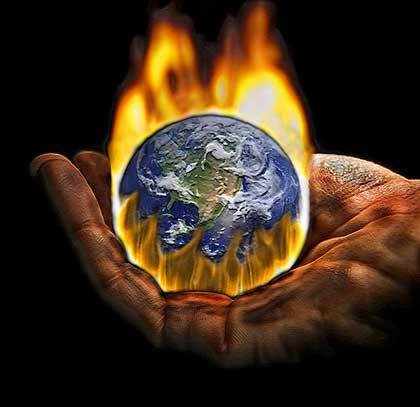 Burning World in Gloved Hand