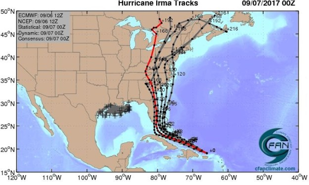 CFAN forecast of Irma's path: high probability paths