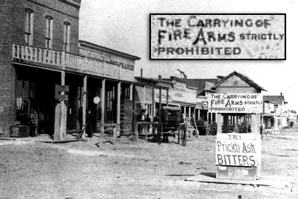 Gun control sign in Dodge City, 1878
