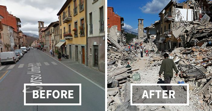 Before and after earthquake in Italy on 30 October 2016