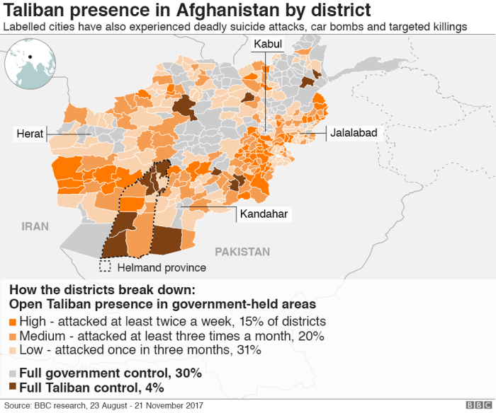 BBC map of the Taliban in Afghanistan