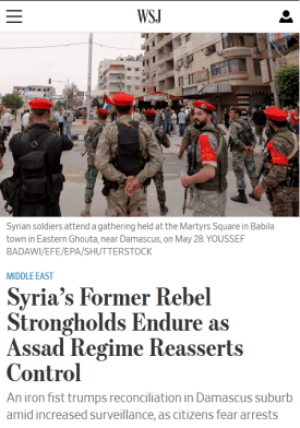 WSJ on the Syria Regime, 12 July 2018