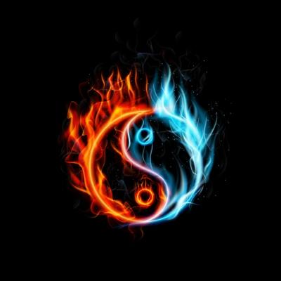 Burning Yin Yang: shutterstock 315038204