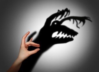 Hand shadow of a dragon