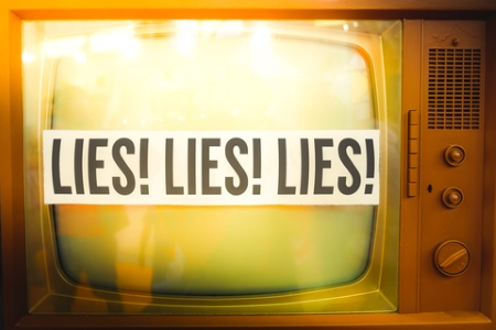 Lies of mainstream media propaganda disinformation - on an old TV