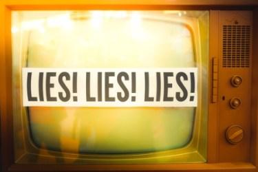 Lies of mainstream media propaganda disinformation - on an old TV