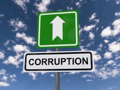 """Sign of """"Corruption above"""" - dreamstime_105297867"""