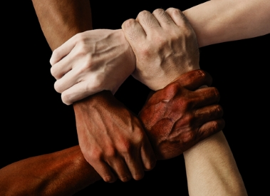 Unity: men linking hands - Dreamstime_135505941