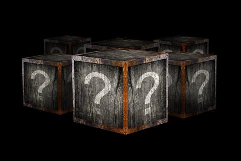 Mystery boxes with question marks.