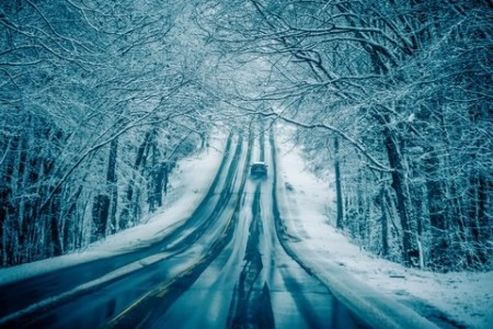 Dangerous slippery and icy road