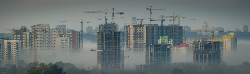 Depressing cityscape with construction of new buildings.