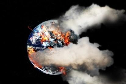 Burning Earth with smoke