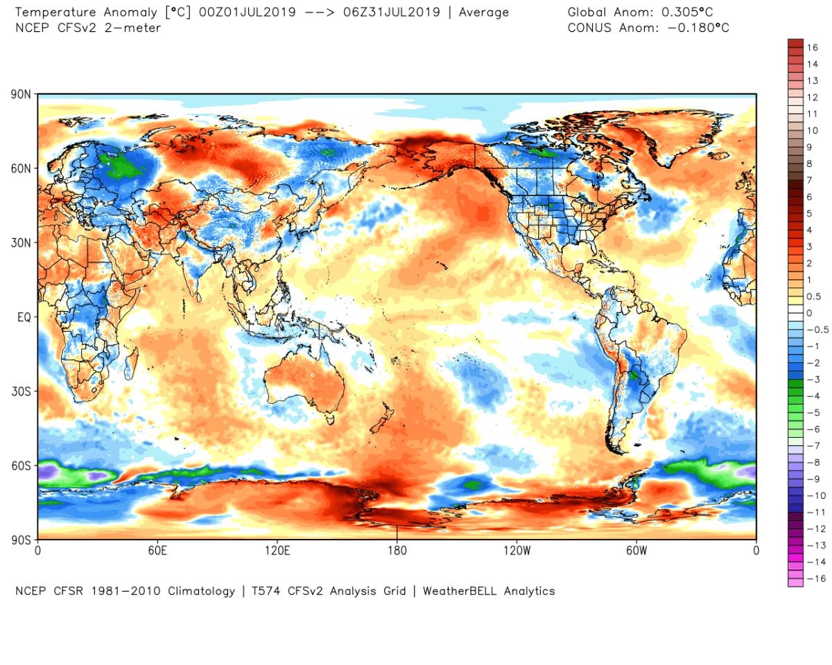 Global Temperature Anomaly for July 2019.