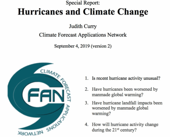 "CFAN ""Special Report on Hurricanes and Climate Change"""