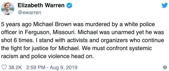 Elizabeth Warren Tweet - 2018-08-09