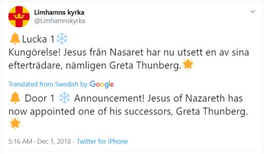 Tweet by Limhamns Kyrka