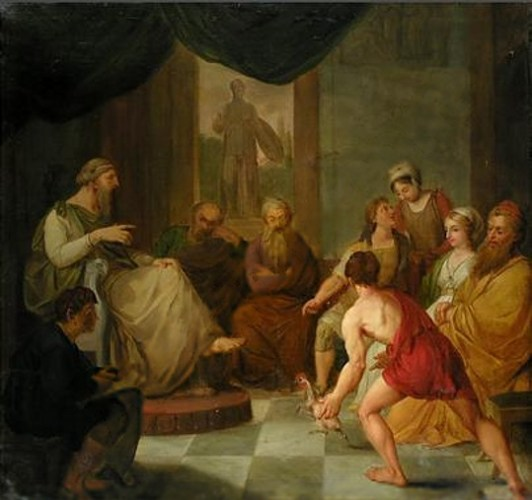 Diogenes brings a plucked chicken to Plato.