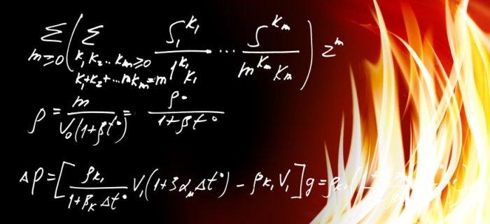 Mathematical formulas on fire.