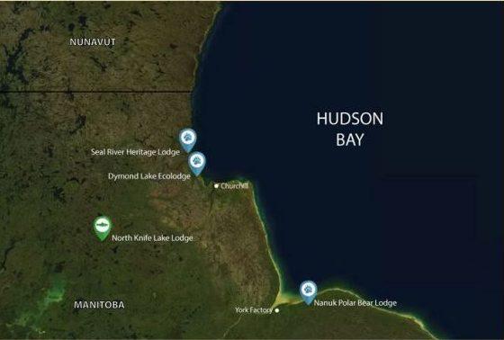 Map of Churchill Wild Lodges