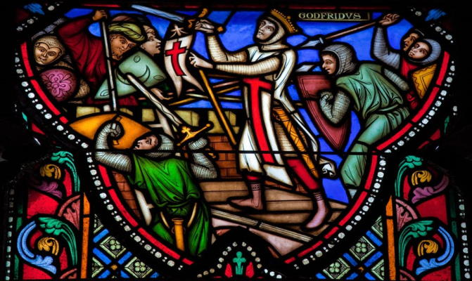 Stained Glass of the First Crusade in the St Michael and St Gudula Cathedral.