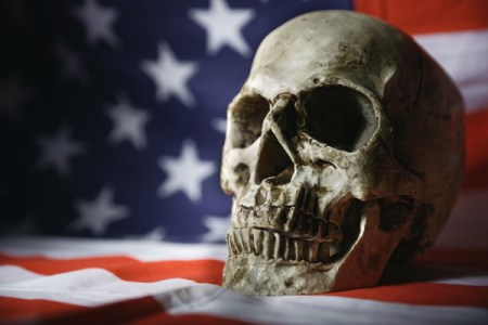 American flag and skull.