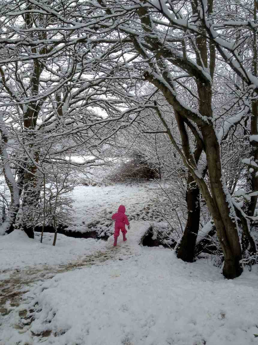 Girl in a pink snow suit