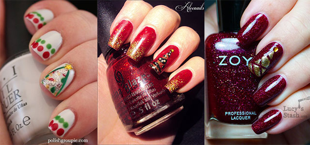 Red And White Snowflakes With Green Christmas Tree Design Nail Art
