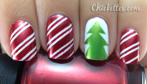 Christmas Tree Nail Art Using Tape With Easy Way You