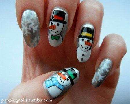 Cute Easy Snowman Nail Art Designs Ideas 2017