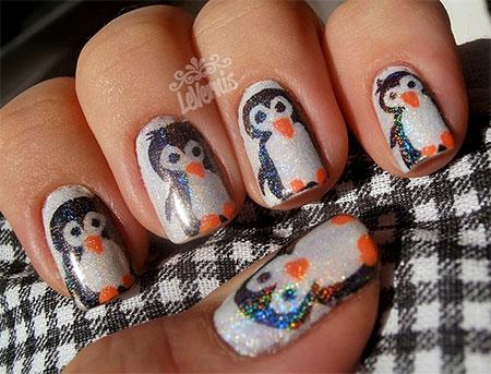 Easy Cute Penguin Nail Art Designs Ideas 2016