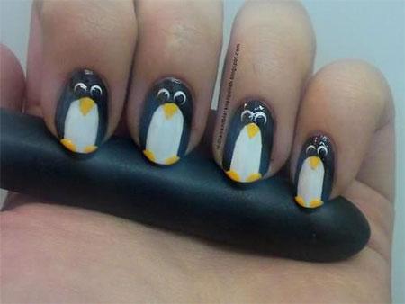 Beautiful Penguin Nail Art Idea