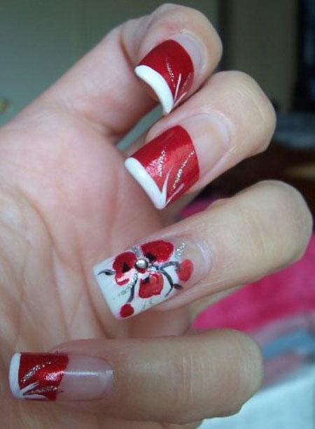 Simple Red Wedding Nail Art Designs Ideas 2017