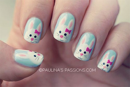 Simple Easter Bunny Nail Art Designs Ideas 2017