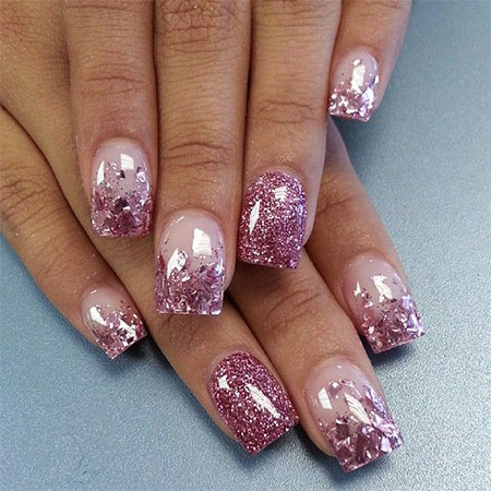 Silver Glitter Nail Design For Wedding
