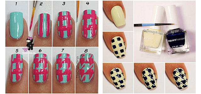 Easy Houndstooth Nail Art Tutorials For Beginners Learners