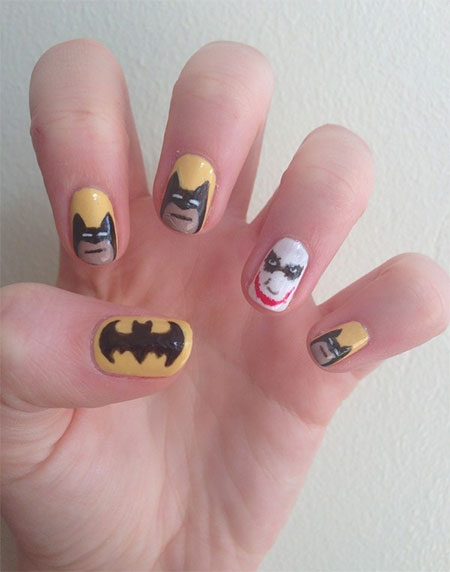 30 Easy Simple Batman Nail Art Designs Ideas