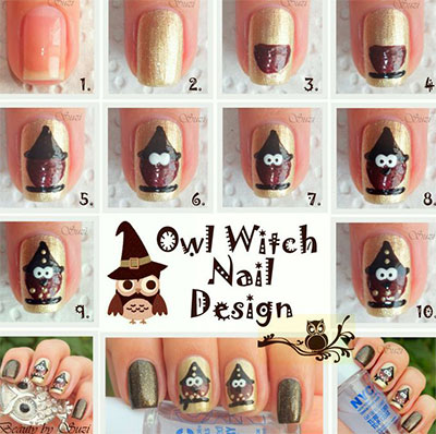 10 Easy Step By Owl Nail Art