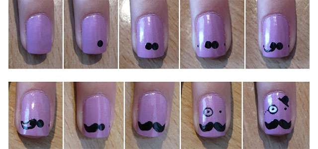 Easy Simple Mustache Nail Art Tutorials For Beginners Learners 2017 Fabulous Designs