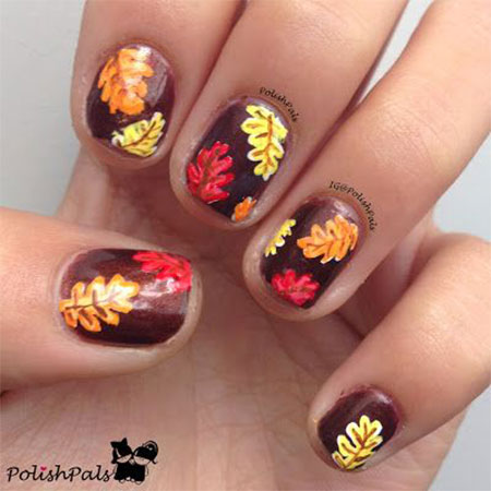 Fall Leaves Nails With Studs And Glitter Accent