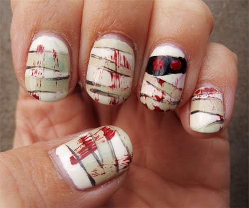 15 Scary Halloween Mummy Nail Art Designs Ideas Trends