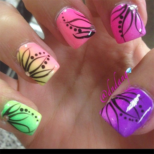 White Tip And Spring Flowers Nail Art