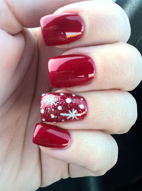 Christmas And Winter Nails In White Pink 34 Nail Art Designs