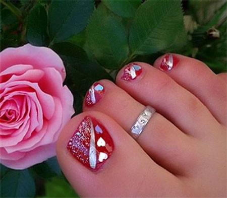 15 Valentines Day Toe Nail Art Designs Ideas